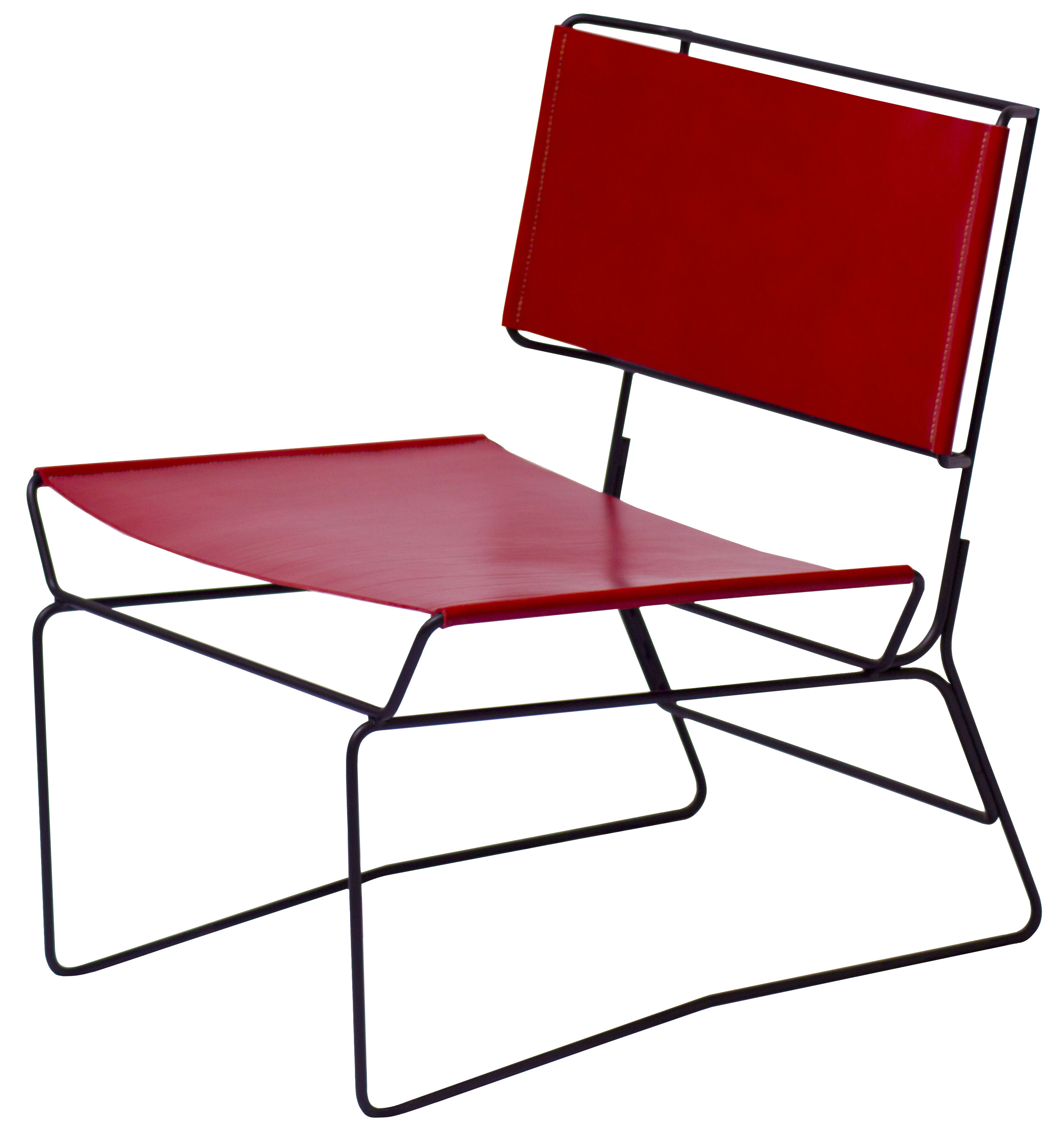 Furniture - Armchairs - Fil Low armchair by AA-New Design - Red leather / Black structure - Epoxy lacquered steel, Leather
