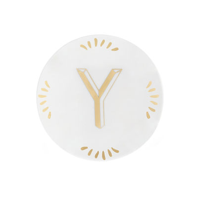Tableware - Plates - Lettering Petit fours plates - Ø 12 cm / Letter Y by Bitossi Home - Letter Y / Gold - China