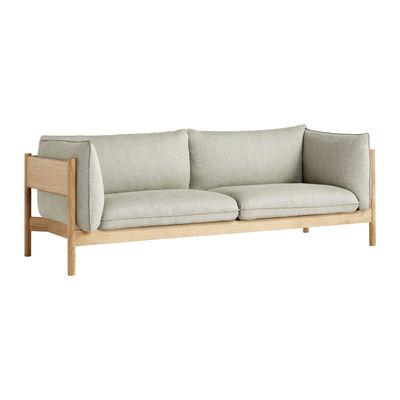 Möbel - Sofas - Arbour Eco Sofa / 3-Sitzer - L 220 cm / Stoff & Holz - Hay - Beige-meliertes Grau (Re-Wool 408)/ Eiche - Daune, FSC Holz, Oeko-Tex-Schaum, Umweltgezeichneter Stoff