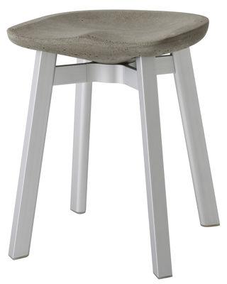 Furniture - Stools - Su Stool - / H 47 cm by Emeco - Seat : Cement - Legs : Aluminium - Ecological concrete, Recycle aluminium