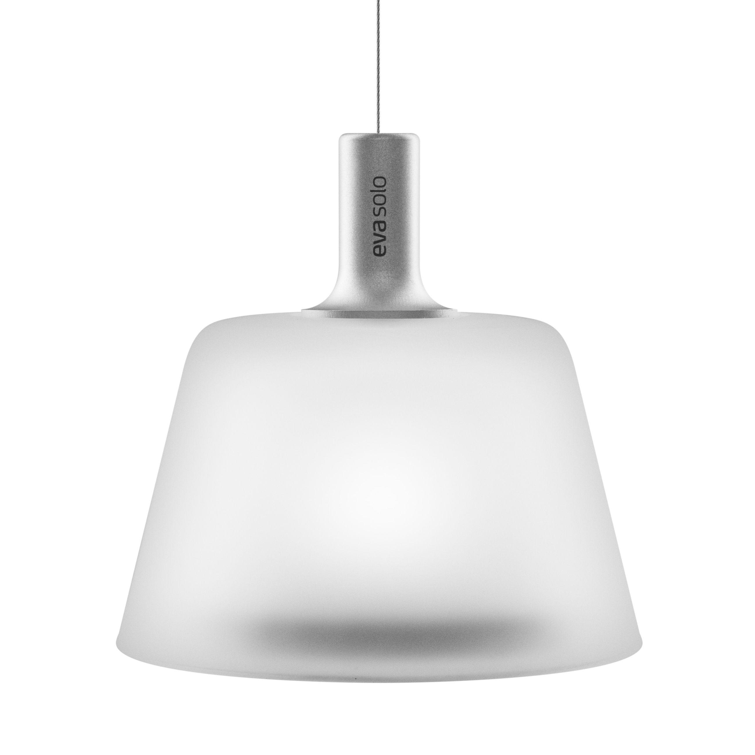 Luminaire - Suspensions - Suspension Sunlight / Energie solaire - Ø 13,2 cm - Eva Solo - Blanc & alu - Aluminium anodisé, Verre dépoli