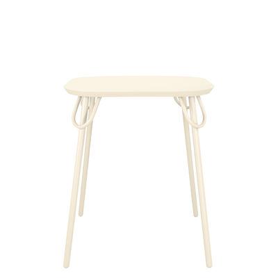 Table carrée Swim Duo / 63 x 63 cm - Métal - Bibelo blanc/beige en métal
