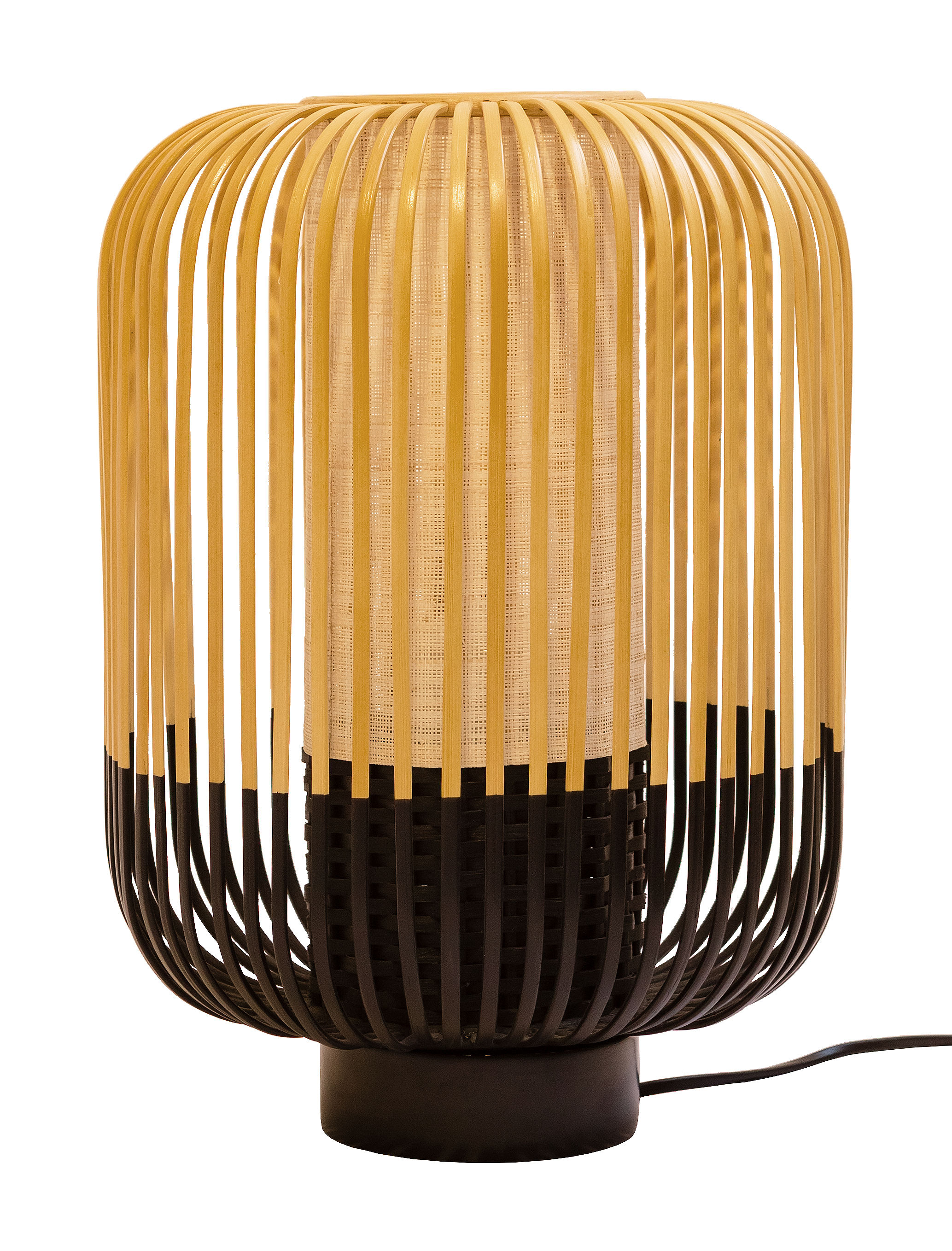 Lighting - Table Lamps - Bamboo Light Table lamp - H 39 x Ø 27 cm by Forestier - H 39 cm - Black - Natural bamboo