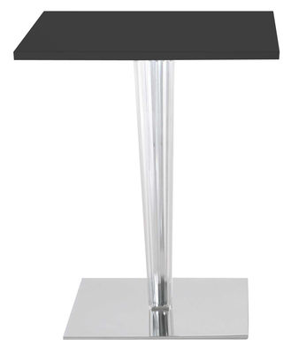 Furniture - Dining Tables - Top Top Table - Laminated square table top by Kartell - Black/ square leg - Laminate, PMMA, Varnished aluminium