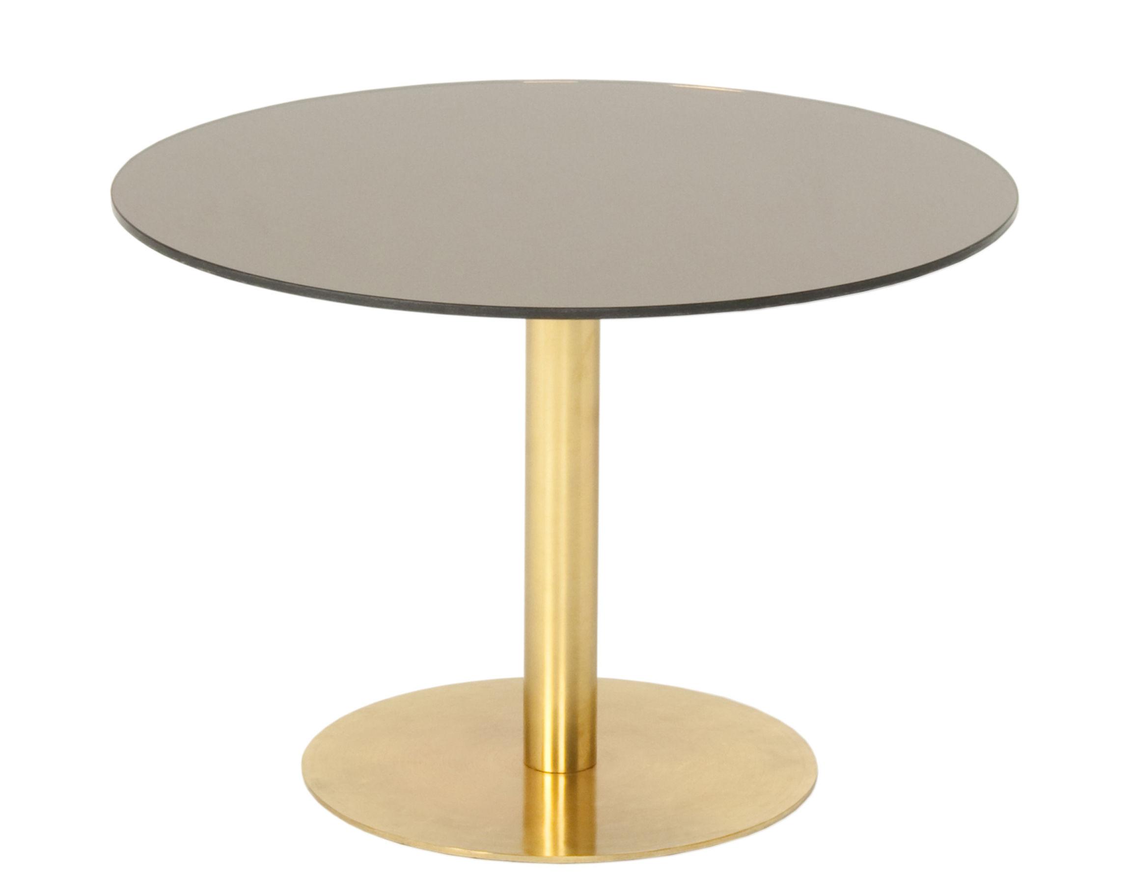 Arredamento - Tavolini  - Tavolino Flash - / Ø 60 cm di Tom Dixon - Bronzo / Oro - Ottone, Verre avec film cuivré