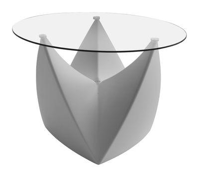 Arredamento - Tavolini  - Tavolino Mr. LEM di MyYour - Grigio chiaro - Piano trasparente - Polietilene rotostampato, Vetro