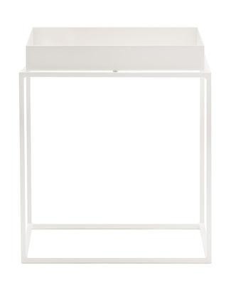 Image of Tavolino Tray - h 30 cm - 30 x 30 cm di Hay - Bianco - Metallo