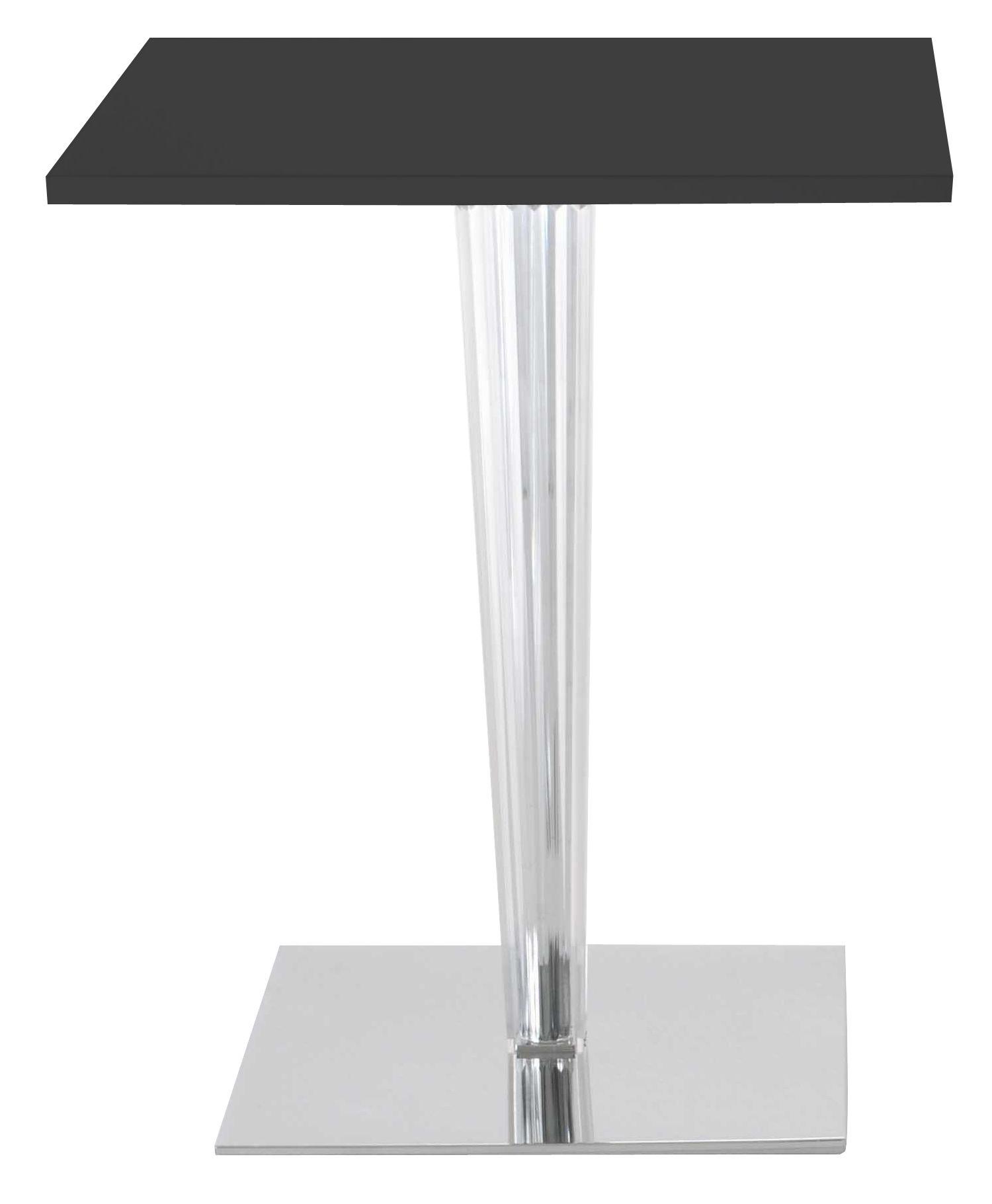 Mobilier - Tables - Table carrée Top Top / Laminé - 70 x 70 cm - Kartell - Noir/ pied carré - Aluminium verni, Laminé, PMMA