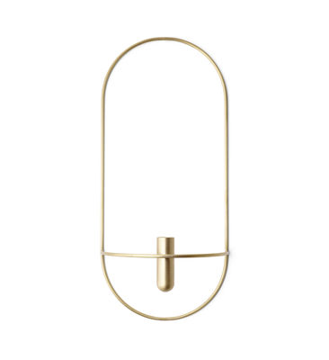 Decoration - Candles & Candle Holders - POV Wall mounted candlesticks - / Vase - L 22 x H 44 cm by Menu - Brass - Solid brass