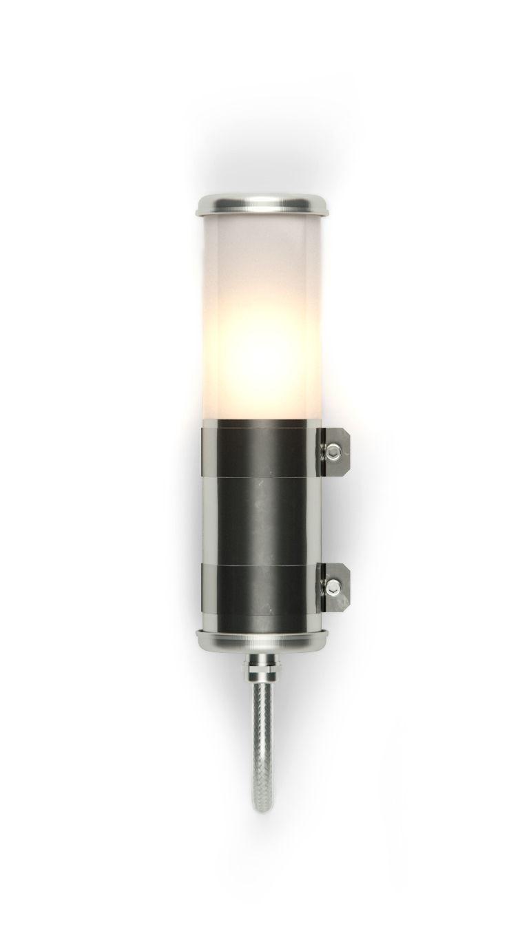 Leuchten - Wandleuchten - Dix Wandleuchte / H 30 cm - Seidenmatt - SAMMODE STUDIO - Stahl / Seidenmatt - PMMA satiné, rostfreier Stahl