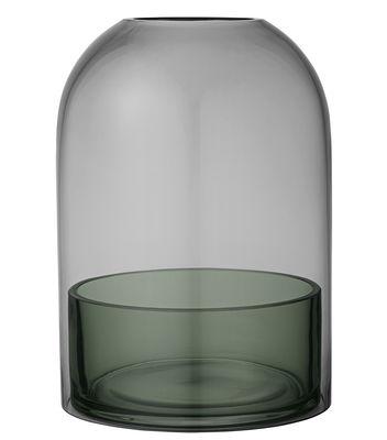 Dekoration - Kerzen, Kerzenleuchter und Windlichter - Tota Large Windlicht / Glas - H 23 cm - AYTM - Rauchglas / Schale grün - Glas