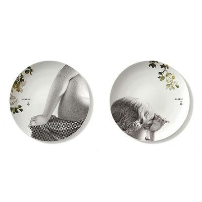 Assiette Parnasse Eté / Set de 2 - Ø 27 cm / Porcelaine - Ibride blanc/jaune/gris en céramique