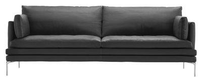 Mobilier - Canapés - Canapé droit William / Tissu - 3 places - L 224 cm - Zanotta - Gris anthracite - Aluminium poli, Tissu