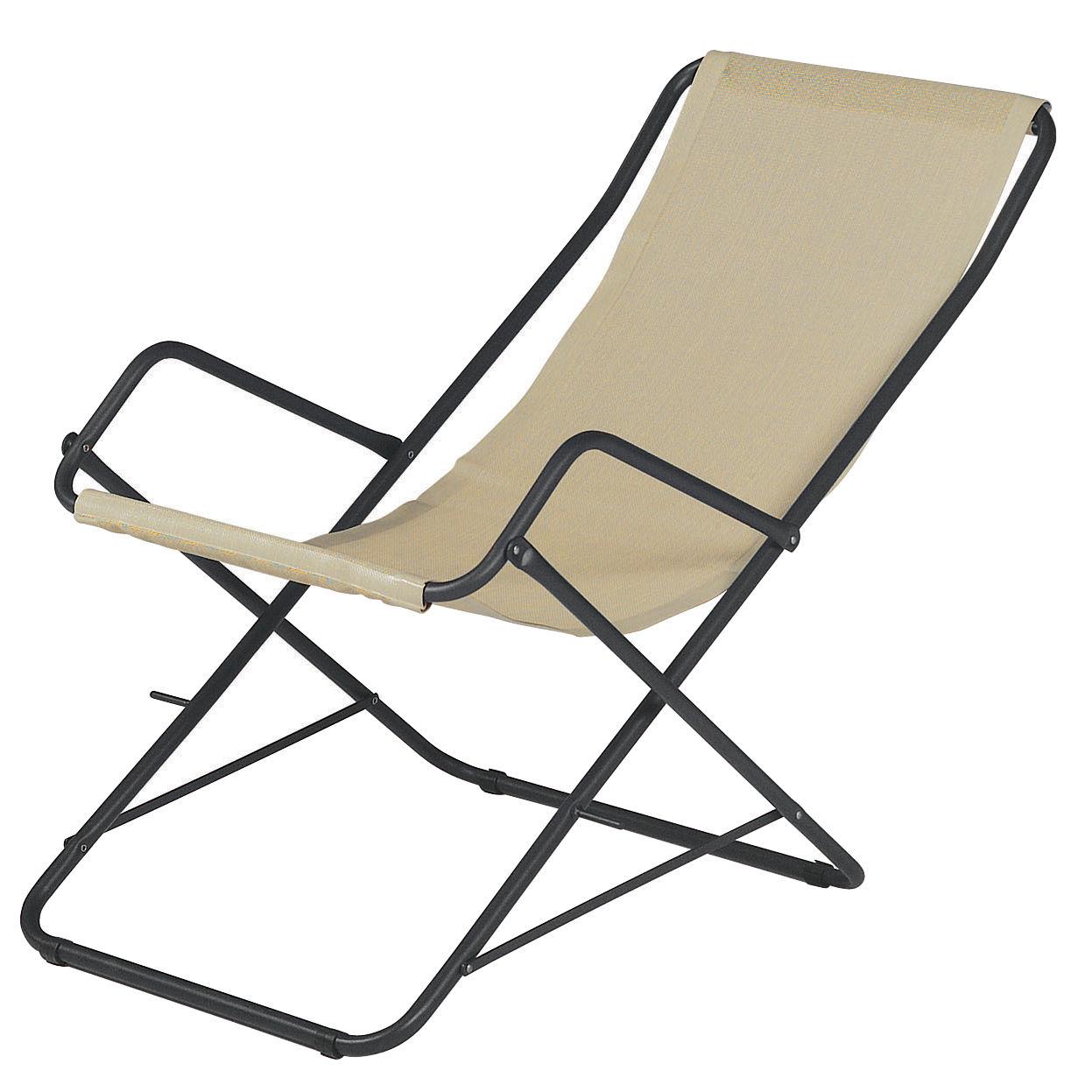 Outdoor - Chaises longues et hamacs - Chaise longue Bahama / Pliable - Emu - Beige / Structure fer ancien - Acier verni, Toile