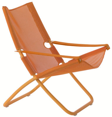 Vitrine DE - Vitrine Outdoor DE - Chaise longue Snooze di Emu - Arancione - Acciaio, Tessuto