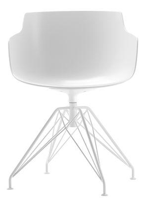 Möbel - Stühle  - Flow Slim Drehsessel / 4 Stuhlbeine aus Stahldraht - MDF Italia - Weiß / Fußgestell weiß - bemalter Stahl, Polykarbonat