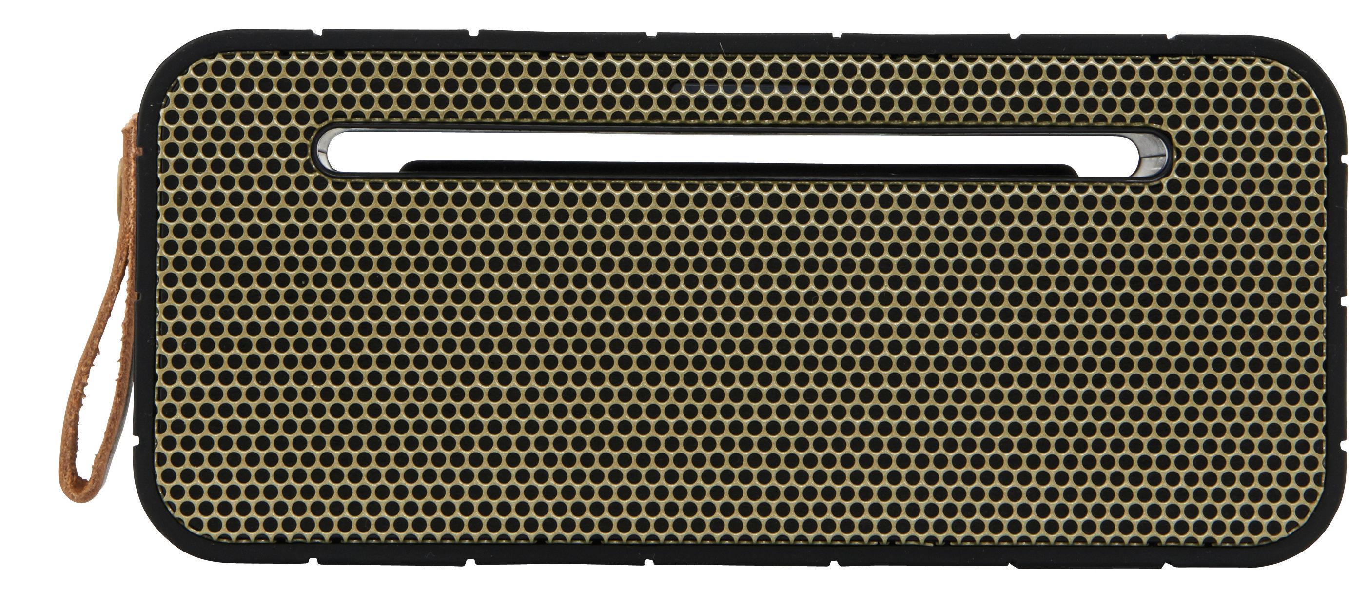 Fête des pères - Objets connectés - Enceinte Bluetooth aMOVE / Portable sans fil - Kreafunk - Noir & Or - Cuir, Matière plastique, Métal