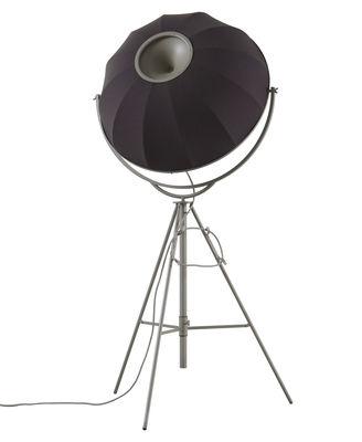 Lighting - Floor lamps - Fortuny Petite Floor lamp by Pallucco - Titanium frame - Grey & purple Steelcut - Fabric, Shaped steel, Tubular steel