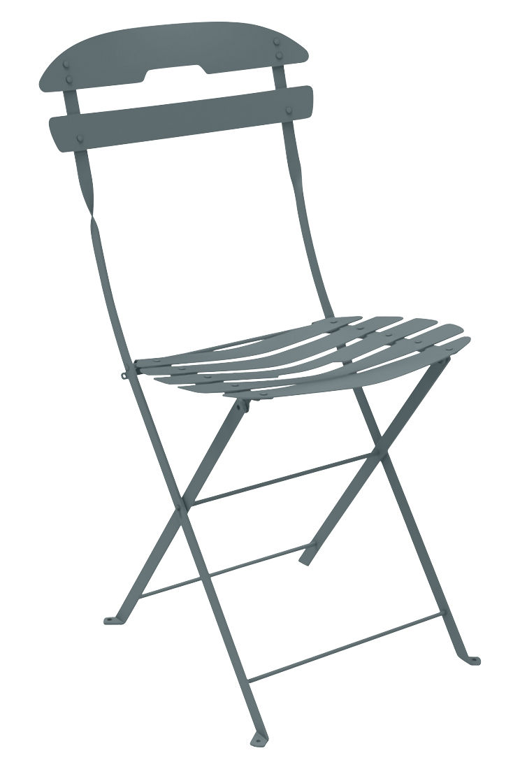 Furniture - Chairs - La Môme Folding chair - Steel by Fermob - Storm grey - Painted steel