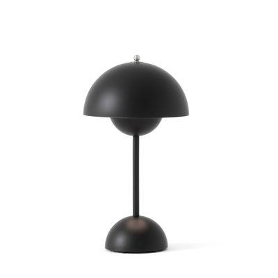 Luminaire - Lampes de table - Lampe sans fil Flowerpot VP9 / H 29,5 cm - By Verner Panton, 1968 - &tradition - Noir mat - Polycarbonate