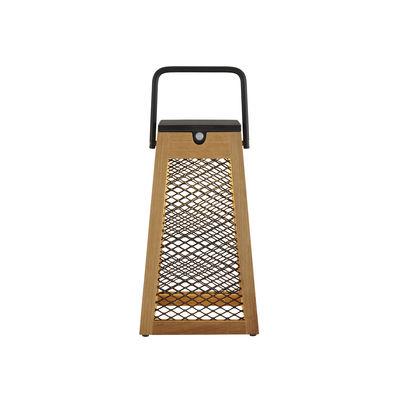 Luminaire - Lampes de table - Lampe solaire Paseo / Bois & métal - H 31 cm / Recharge solaire ou secteur - Cinna - Bois & noir - Aluminium laqué époxy, Teck