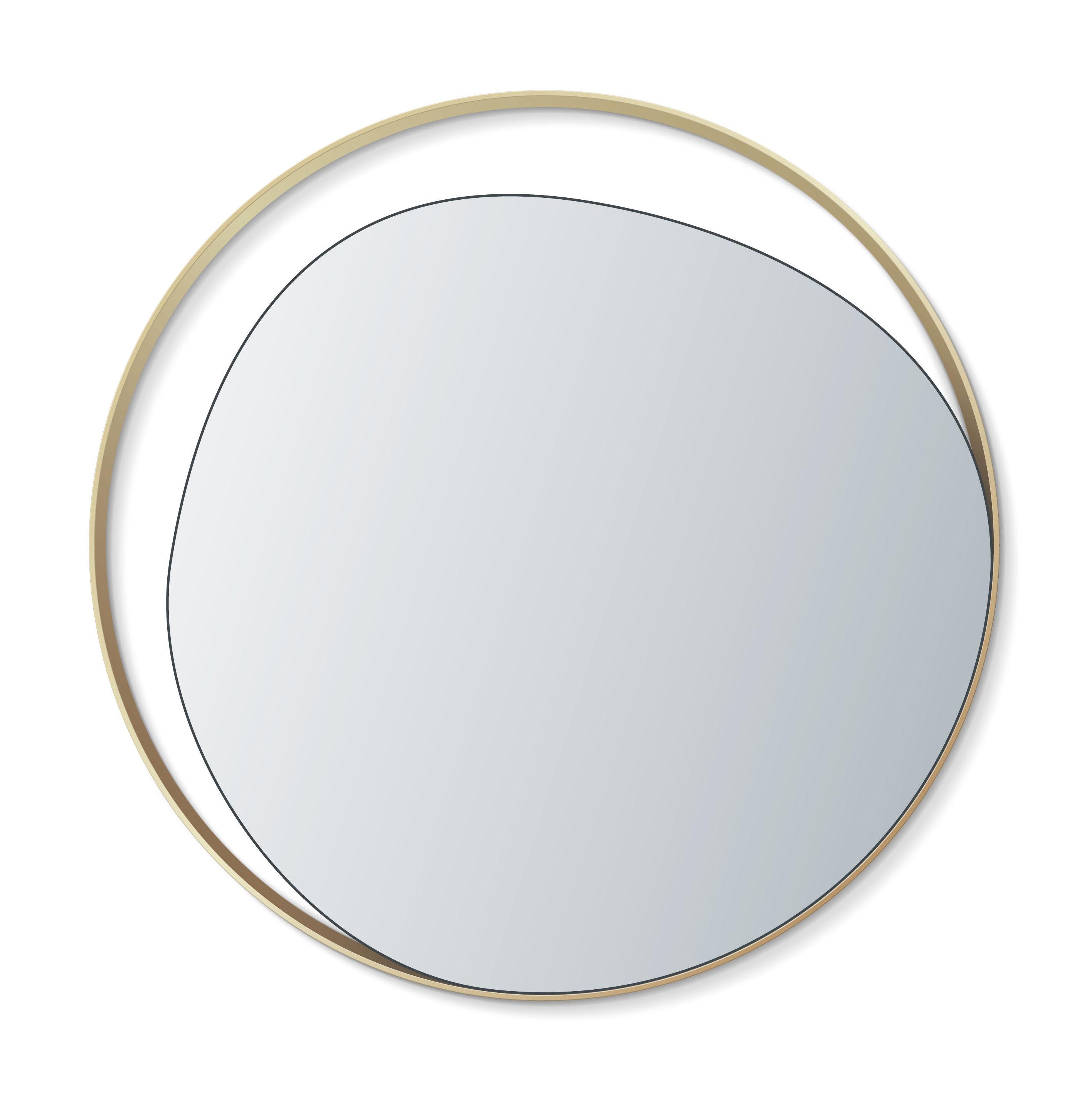 Déco - Miroirs - Miroir mural Ellipse / Ø 80 cm - RED Edition - Miroir argent / Laiton - Bois, Laiton, Verre