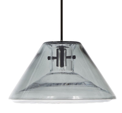 Flask Wide Pendelleuchte / Ø 26 cm x H 14 cm - Tom Dixon - Transparent,Rauch