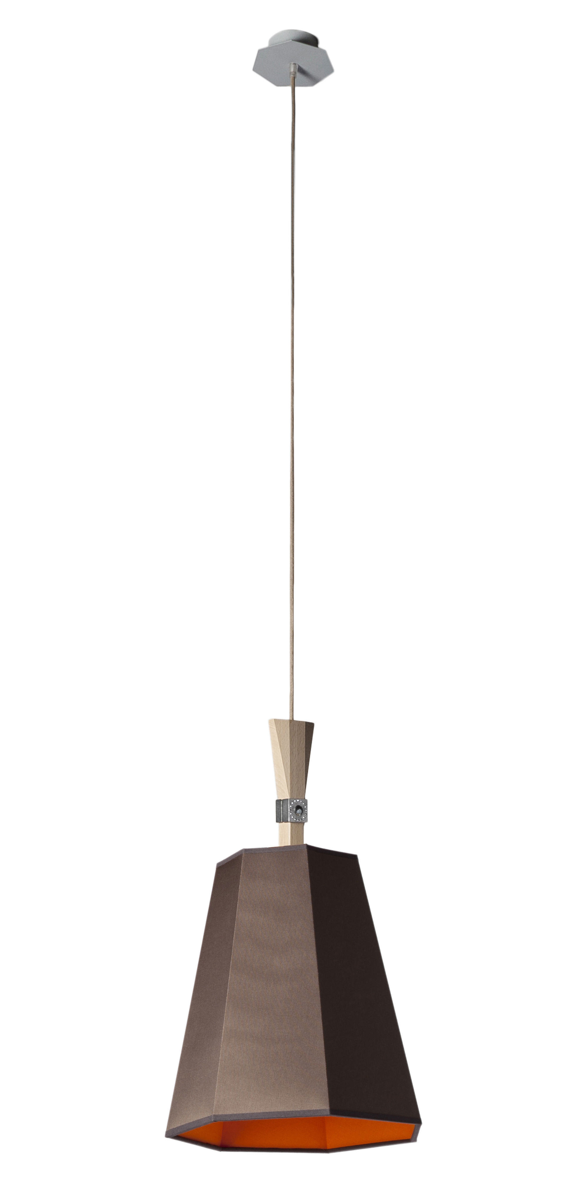 Leuchten - Pendelleuchten - LuXiole Pendelleuchte Ø 40 cm - Designheure - Lampenschirm braun / Innenseite orange - Baumwolle, Buchenfurnier