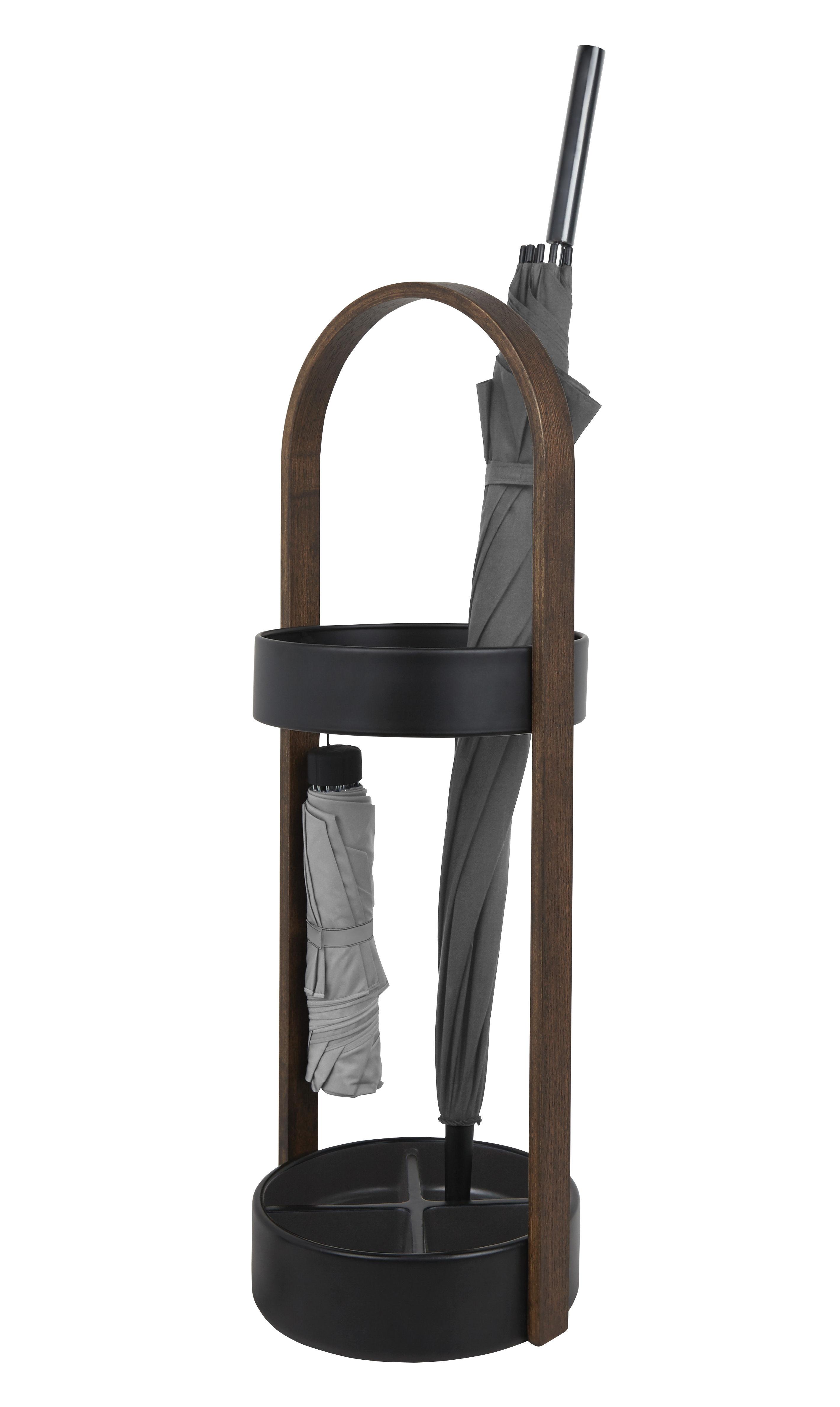 Mobilier - Compléments d'ameublement - Porte-parapluies Hub / Bois & résine - Umbra - Noir / Noyer - Métal peint, Noyer, Résine