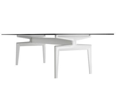 Möbel - Tische - Flow rechteckiger Tisch Glasplatte - 220 x 90 cm - MDF Italia - 220 x 90 cm - Glas transparent - Gestell weiß - Glas, lackiertes Aluminium