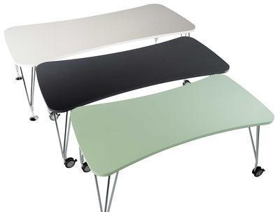 Möbel - Möbel für Teens - Max rechteckiger Tisch mit Laufrollen - 160 cm - Kartell - Weiß 160 cm - Laminat, verchromter Stahl