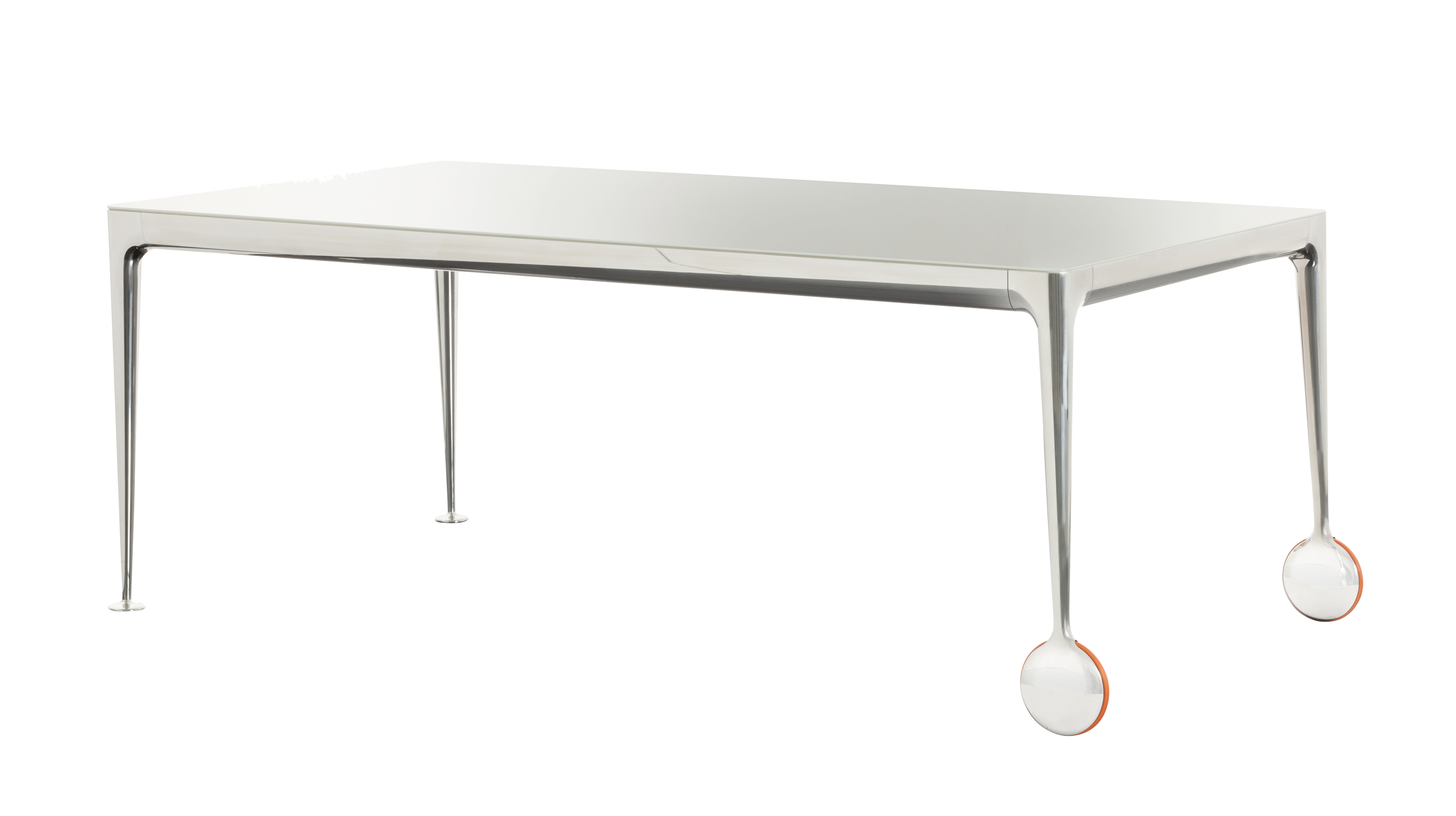 Product selections - Top 100 Furniture/bestseller - Big Will Rectangular table - 200 x 100 cm by Magis - White top / Polished alu legs - Polished cast aluminium, Rubber, Soak glass