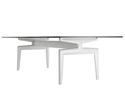 Furniture - Dining Tables - Flow Rectangular table - Glass table top - 90 x 220 cm by MDF Italia - White frame / Marble top - Glass, Lacquered aluminium