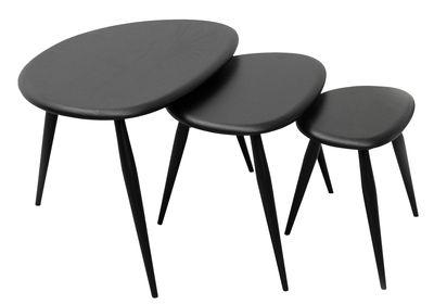 Möbel - Couchtische - Originals Satz-Tische / 3er-Set - Neuauflage des Originals aus den 1950er Jahren - Ercol - Schwarz - Lasierte Massivulme, Massive Buche, gebeizt