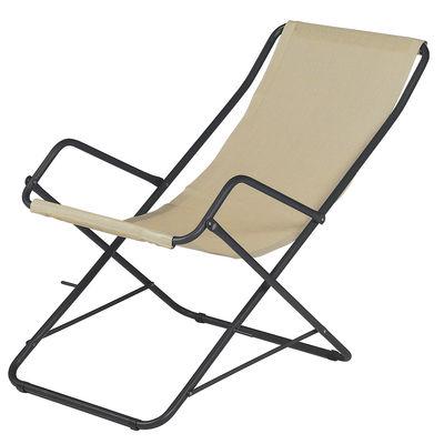 Outdoor - Sdraio, lettini e amache - Sdraio Bahama - / Pieghevole di Emu - Tela beige / Struttura ferro vecchio - Acciaio verniciato, Tela