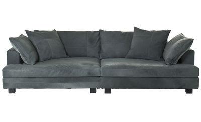 Möbel - Sofas - Cloud Atlas Sofa / Leder - 3-Sitzer - L 220 cm - Diesel with Moroso - Blau-grünes Leder - Gänsefeder, getönte Esche, Leder, Polyesterfaser, Polyurethan-Schaum