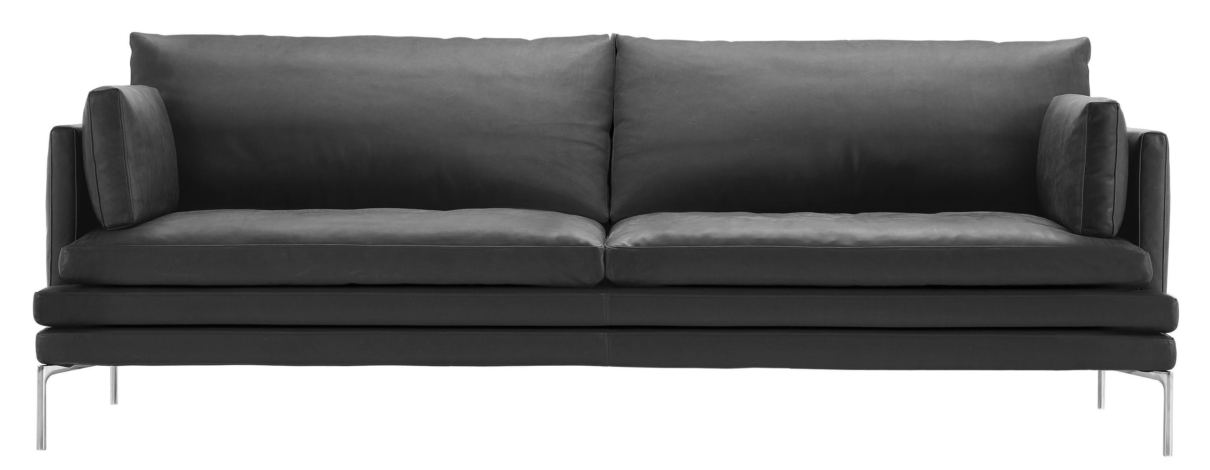 Möbel - Sofas - William Sofa / mit Stoffbezug - 2-Sitzer - L 224 cm - Zanotta - Stoffbezug - anthrazit-grau - Gewebe, poliertes Aluminium