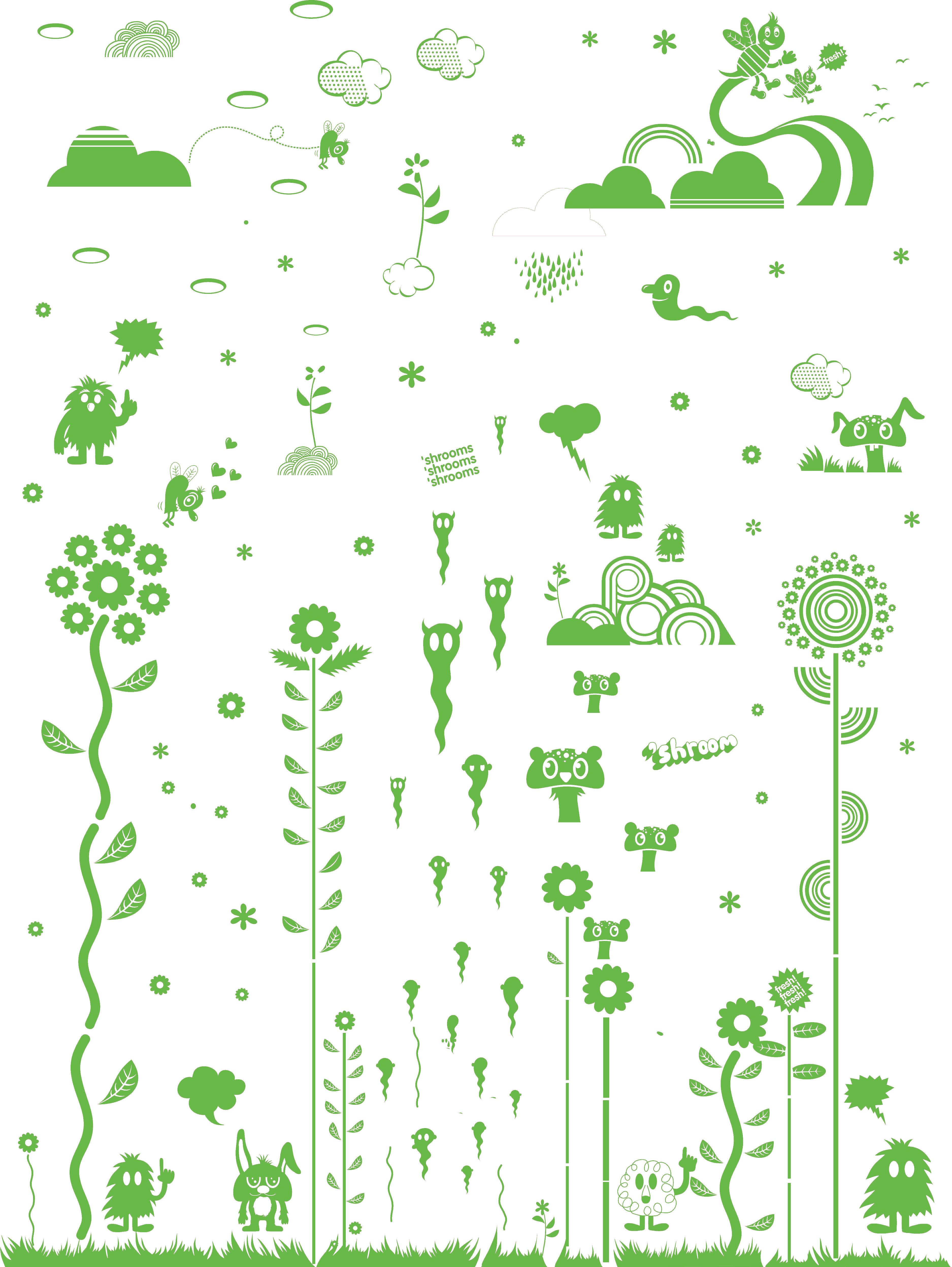 Dekoration - Stickers und Tapeten - Mushroom Forest Green Sticker - Domestic - Grün - Vinyl