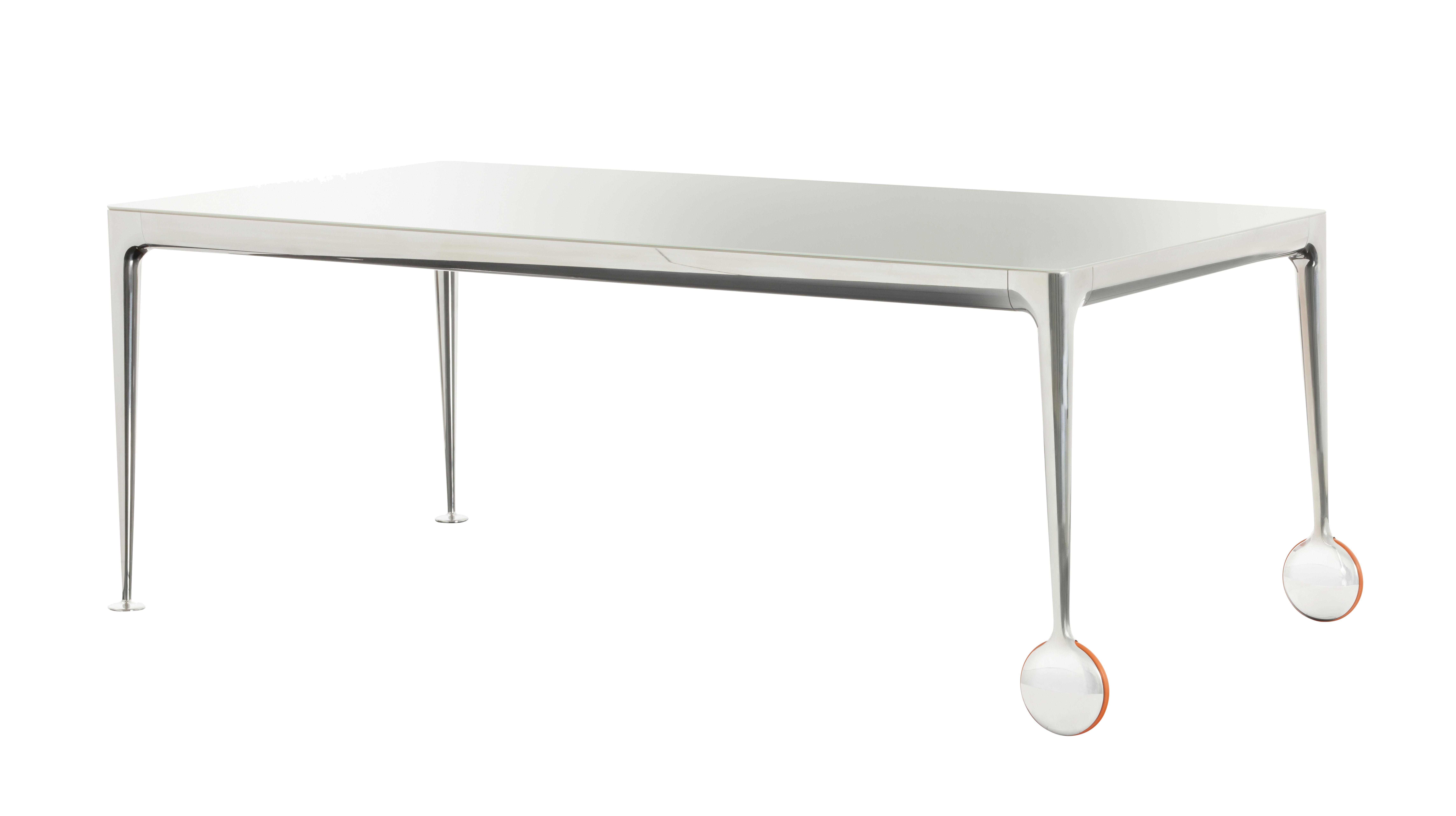 Dossiers - Top 100 - Table Big Will / 200 x 100 cm - Magis - Plateau blanc brillant / Pieds alu poli - Caoutchouc, Fonte d'aluminium poli, Verre trempé