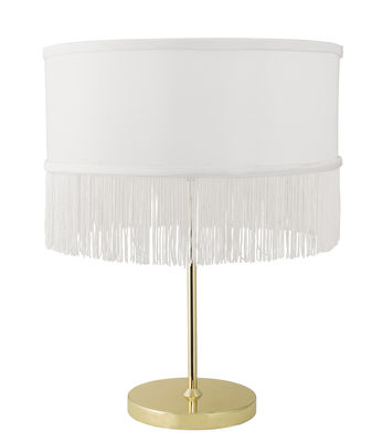 Lighting - Table Lamps - Table lamp - / Fringed fabric by Bloomingville - White & gold - Fabric, Metal