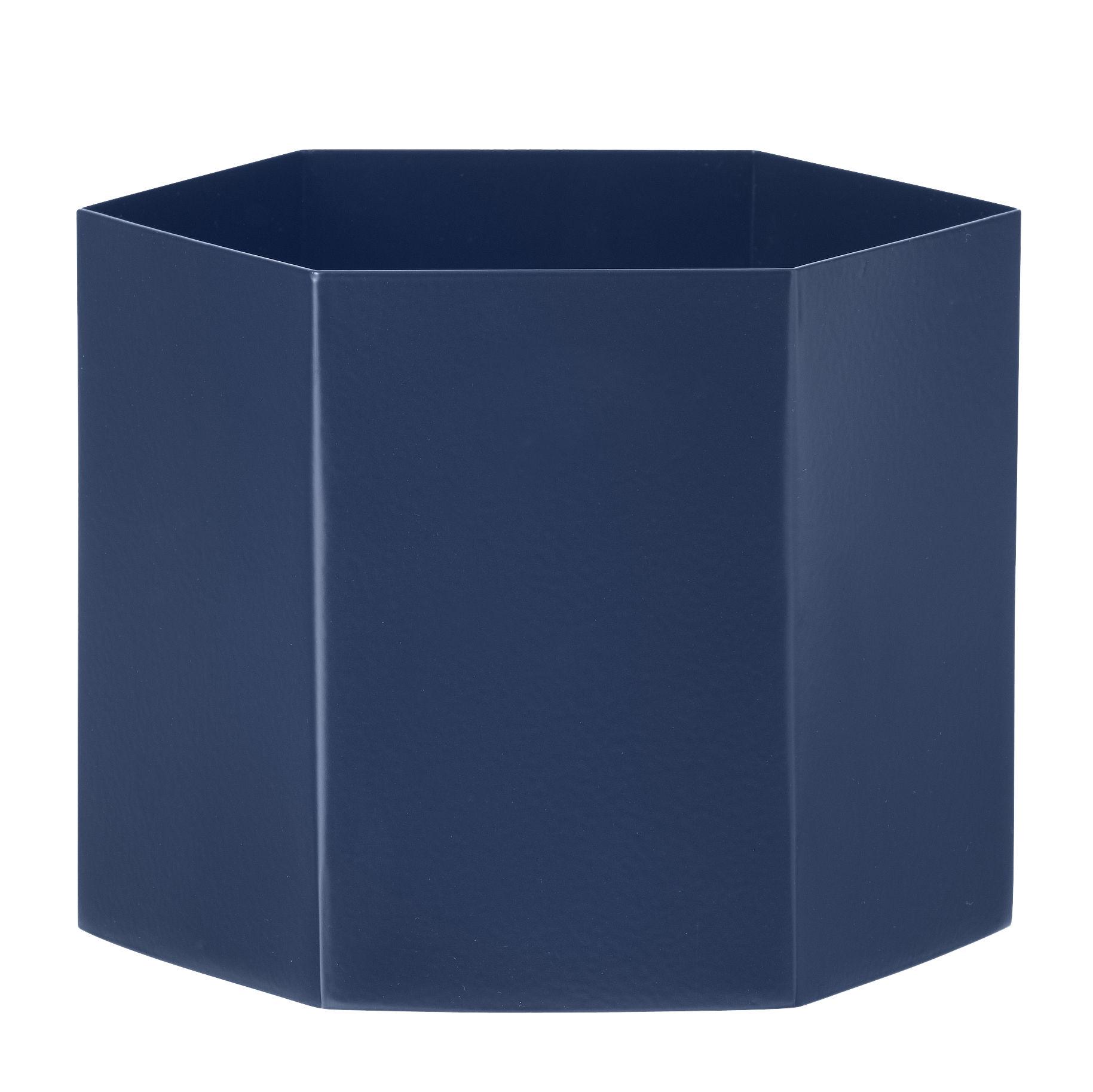 Interni - Vasi - Vaso Hexagon / Large - Ø 18 cm - Ferm Living - Blu - metallo laccato