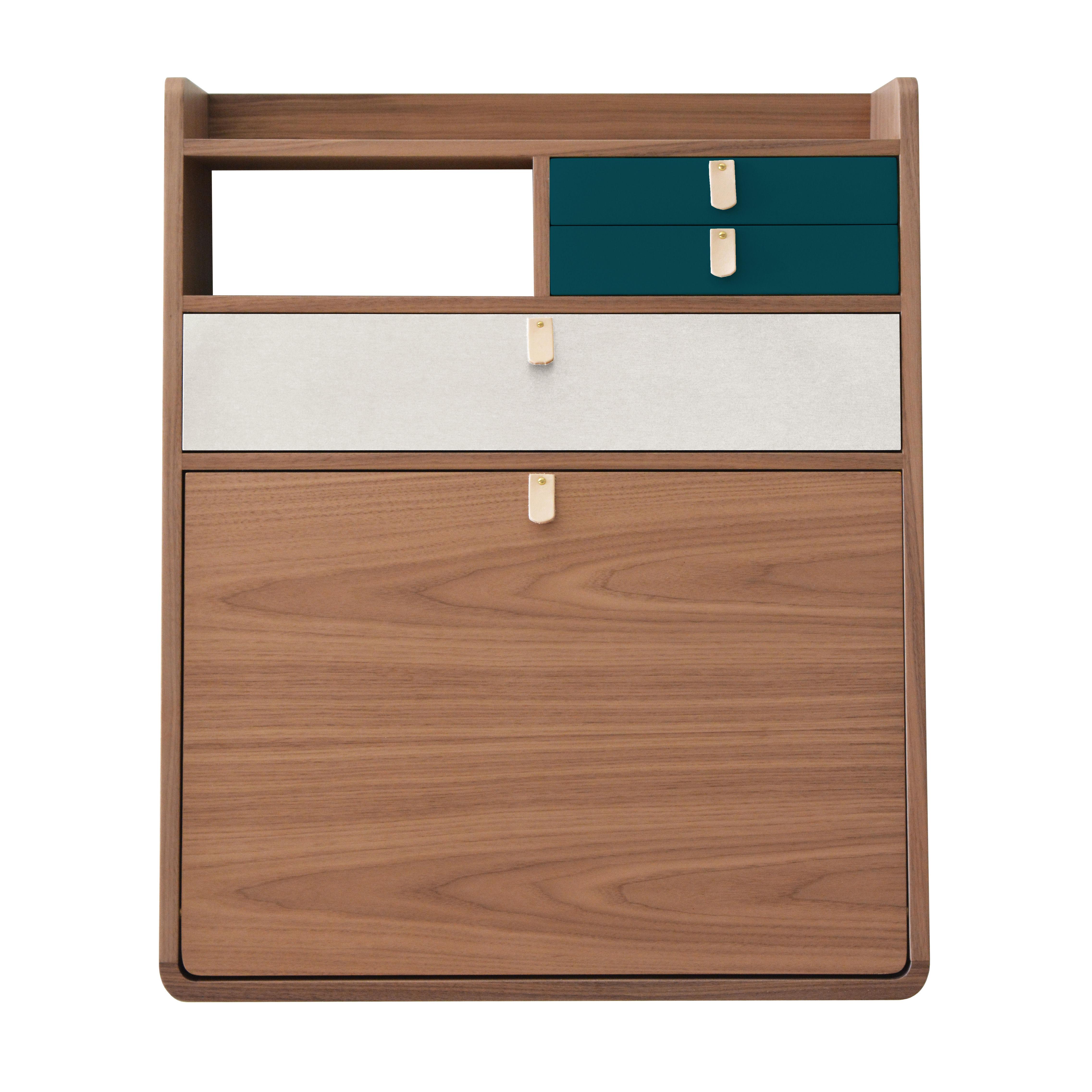 Möbel - Möbel für Kinder - Gaston Wand-Schreibtisch / L 60 x H 72 cm - Nussbaum - Hartô - Petrolblau & hellgrau / Nussbaum - eichenfurnierte Holzfaserplatte, Leder