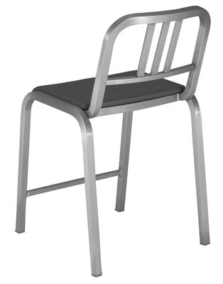 Furniture - Bar Stools - Nine-O Bar chair - Padded seat - H 60 cm by Emeco - Brushed aluminium / Grey - Aluminium, Polyurethane