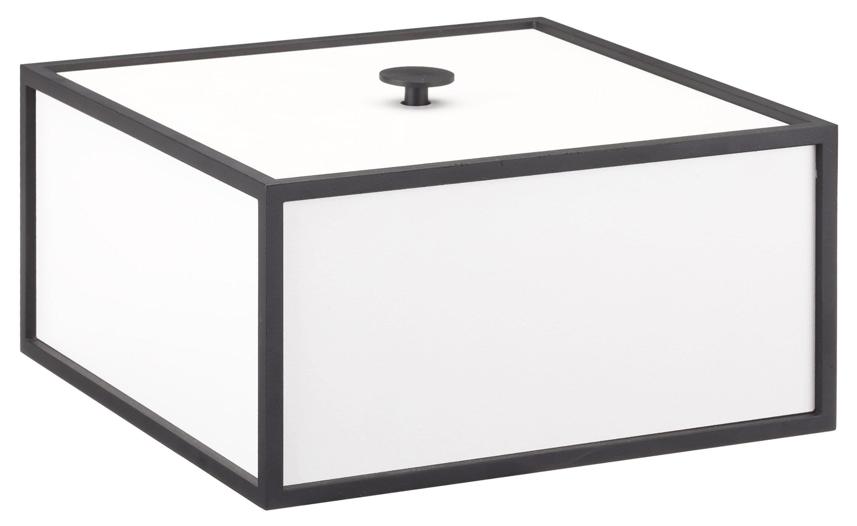 Déco - Boîtes déco - Boîte Frame / 20 x 20 cm - Bois & cadre métal - by Lassen - 20 cm / Blanc & métal noir - Acier laqué, MDF laqué