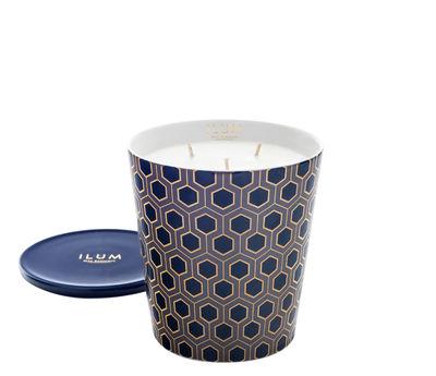Bougie parfumée Ilum / Cologne rétro - Ø 11 x H 13 cm - Max Benjamin bleu,or en verre