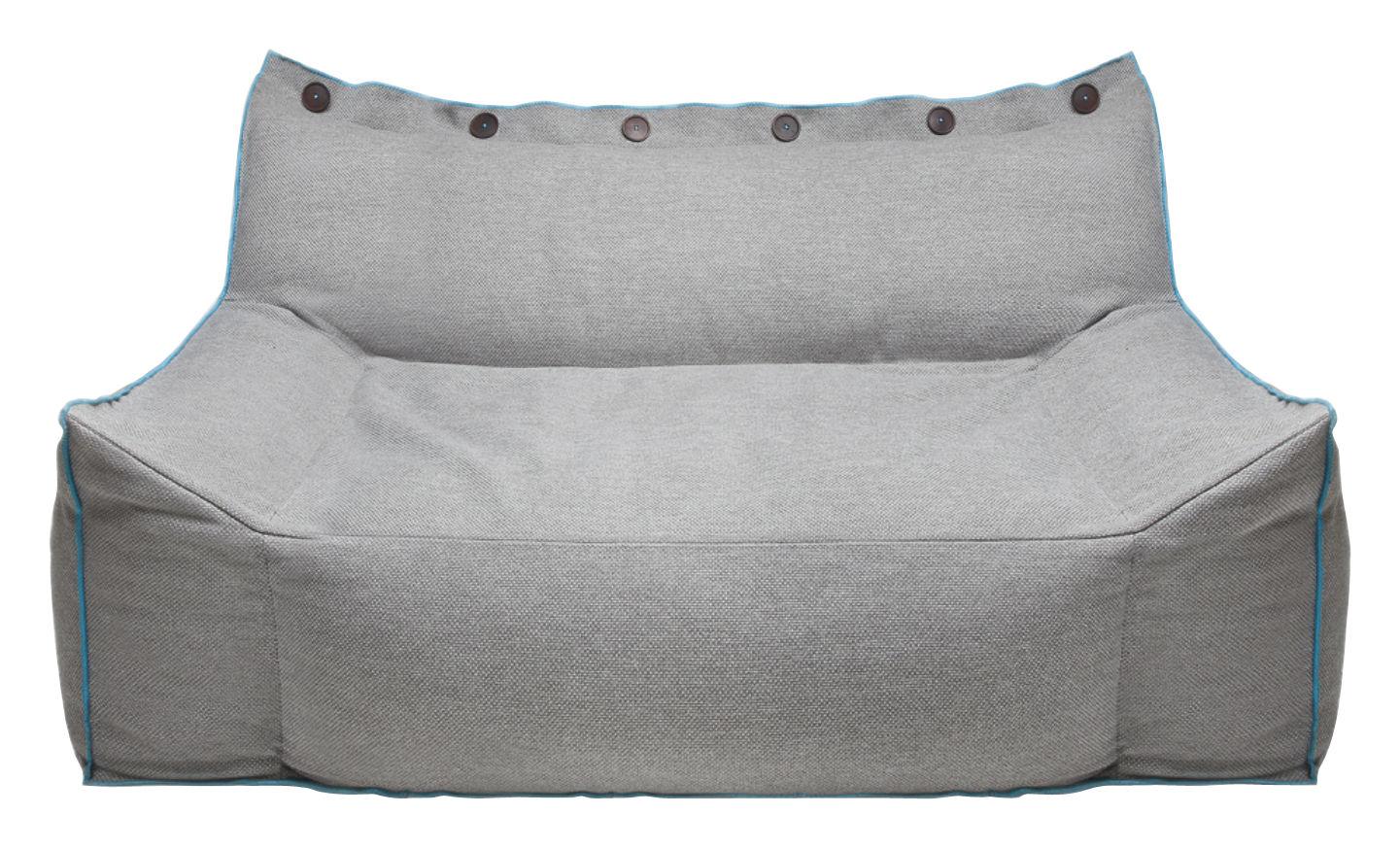 Mobilier - Canapés - Canapé droit Frollo / tissu - Pour l'intérieur - 2 places L 160 cm - Skitsch - Gris & liseré bleu - Fibre de polyester, Tissu