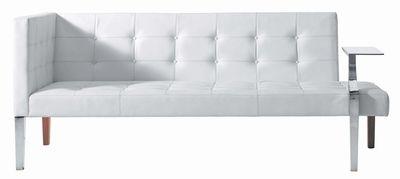 Mobilier - Canapés - Canapé droit Monseigneur / L 201 cm - Driade - Cuir blanc - Acier chromé, Bois, Cuir