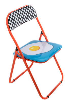 Chaise pliante Œuf rembourrée Seletti rouge,multicolore en matière plastique