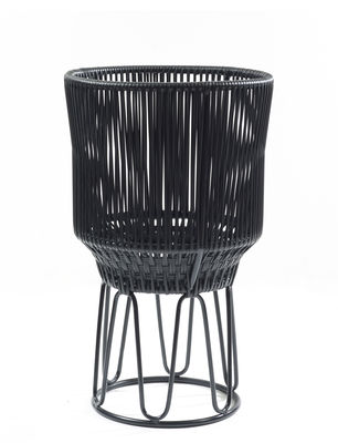 Outdoor - Pots & Plants - Circo 2 Flower-pot holder - / Ø 40 x H 68 cm by ames - Black / Black structure - Recycled PVC threads, Thermolacquered galvanised steel
