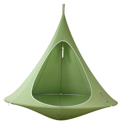 Outdoor - Sun Loungers & Hammocks - Hanging armchair - Double Hanging chair by Cacoon - Green - Anodized aluminium, Cloth